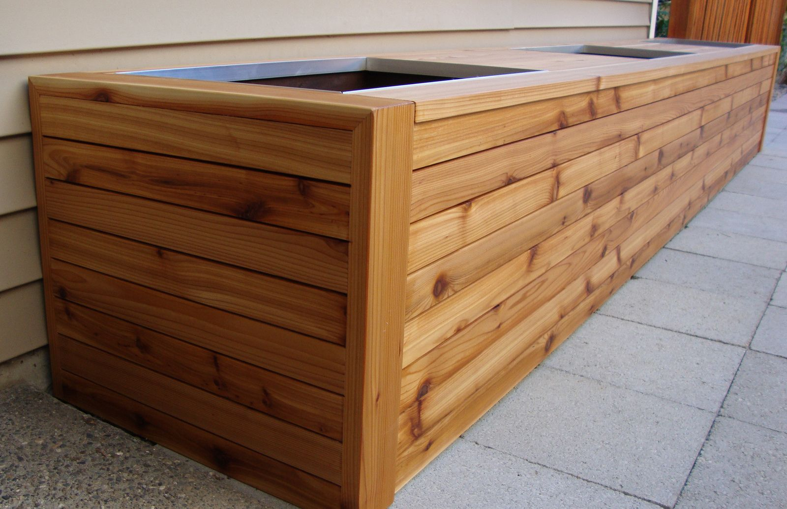 Cedar planter box and bench seating | by Independent Woodworks