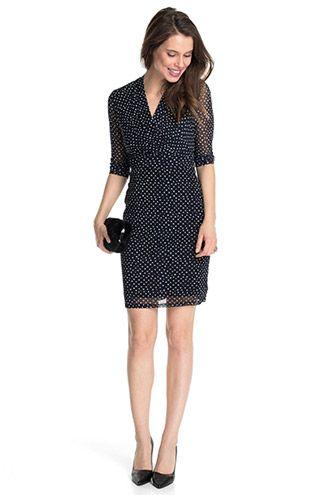 Stretch Punkte Print Mesh Kleid Kleider Netzkleid Modestil