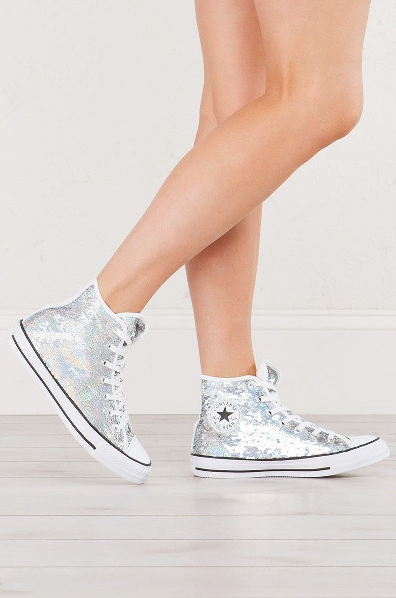 83533f16b26318 Full view Converse Chuck Taylor Shiny Metallic High Top Sneaker in Silver  Sequin with White Contrast