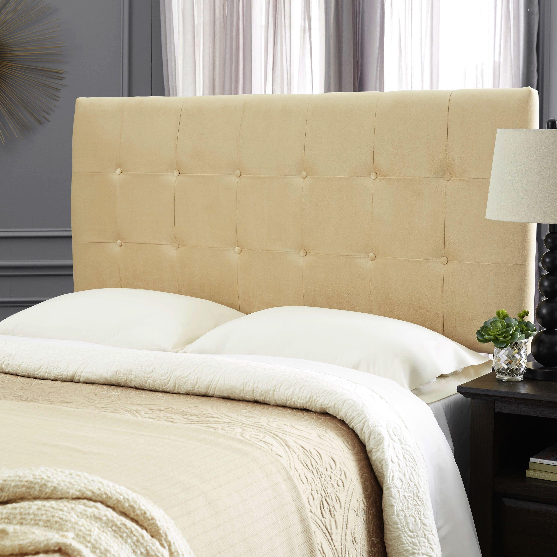 Humble + Haute Stanford Velvet Honey Beige Upholstered Headboard ...