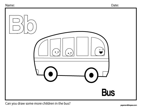B Is For Bus. Alphabet Worksheet.