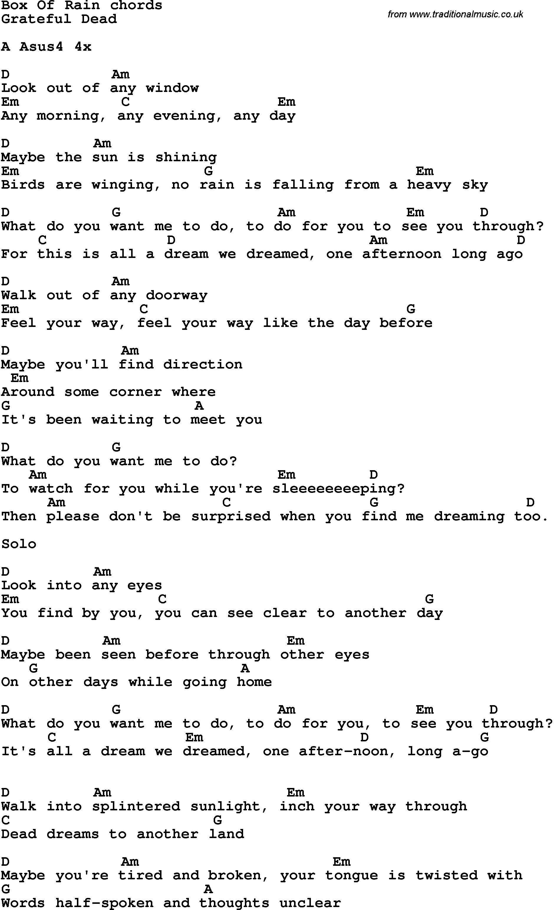 Song lyrics with guitar chords for box of rain yas pinterest song lyrics with guitar chords for box of rain hexwebz Choice Image