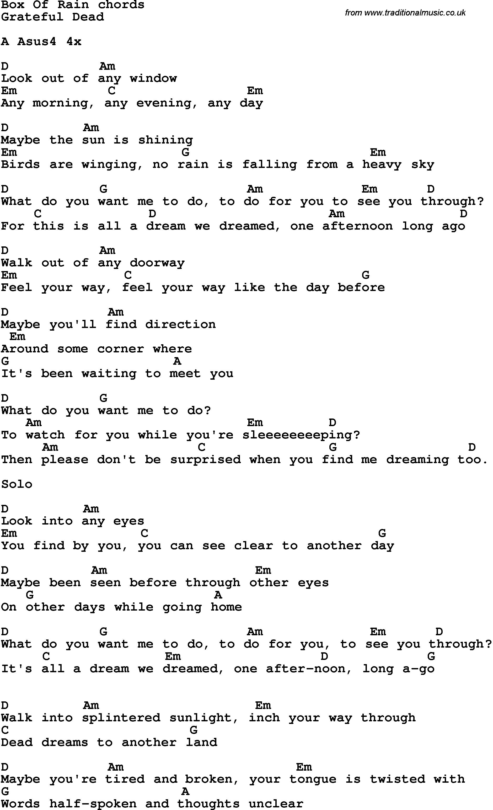 Song lyrics with guitar chords for box of rain yas pinterest song lyrics with guitar chords for box of rain hexwebz Gallery