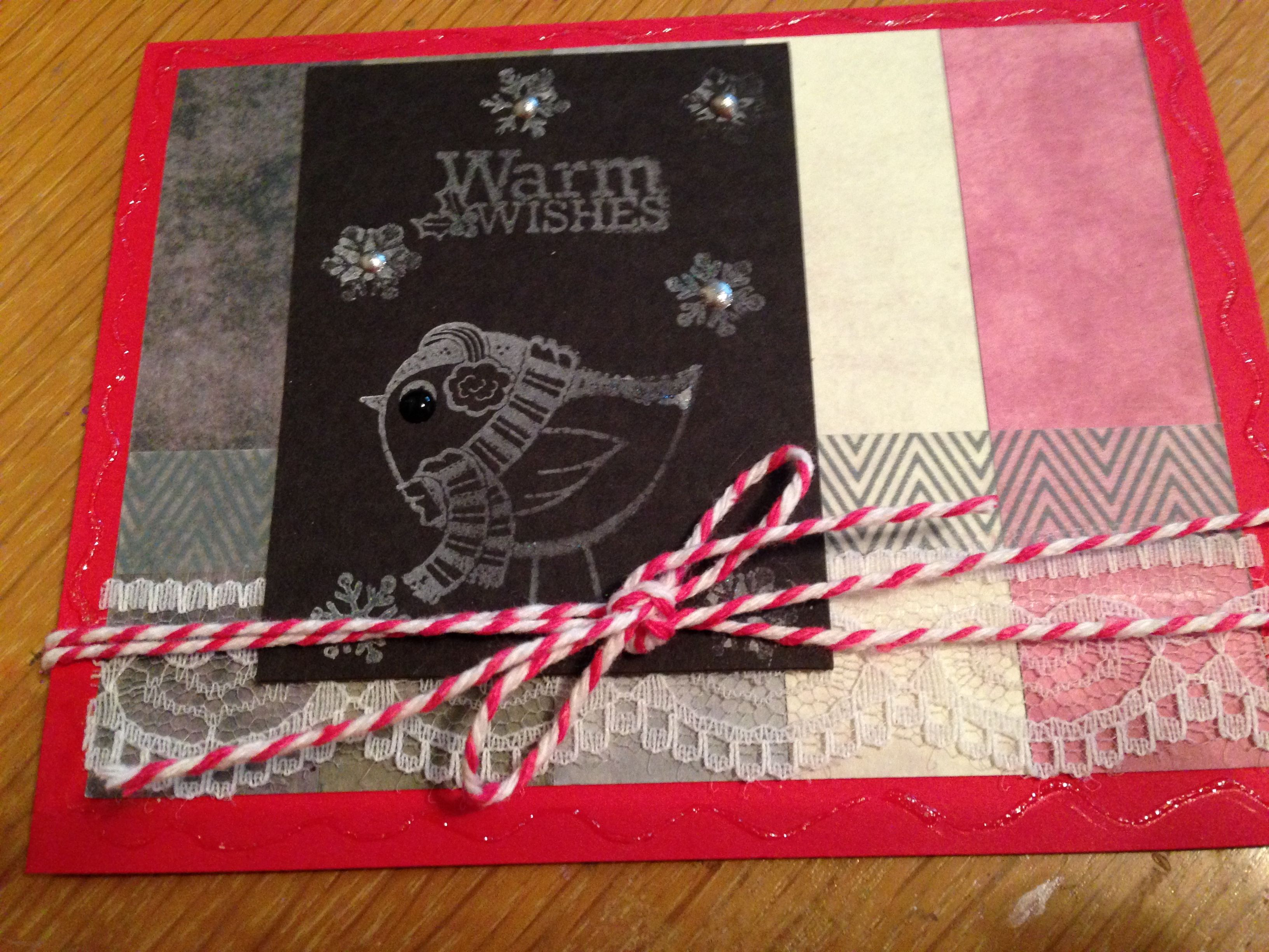Quick and easy christmas card using black construction paper or