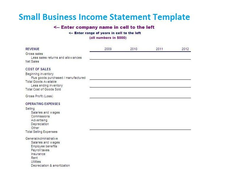 small business income statement template financial management