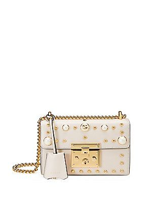 996f05e7f3e Gucci Padlock Small Studded Leather Shoulder Bag - Mystic White - Size