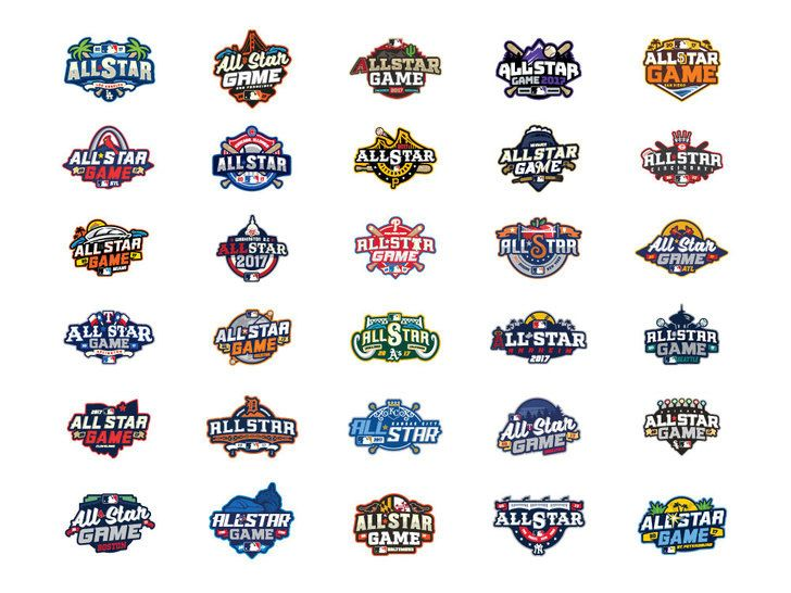 All Star Logos For Everyone Major League Baseball Logo Game Logo Game Logo Design
