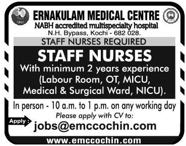 Ernakulam Medical Centre Requires Staff Nurses With Minimum 2 Year