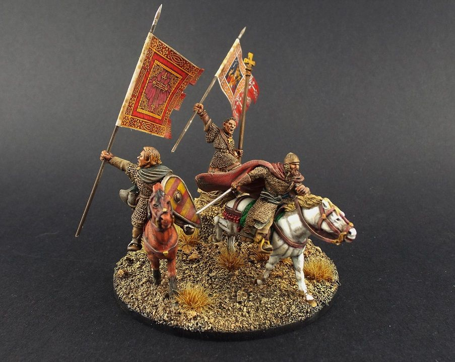 28mm Gripping Beast ~ Christian Spanish Command/ Gaming Vignette of the Age of El Cid and the Reconquista.
