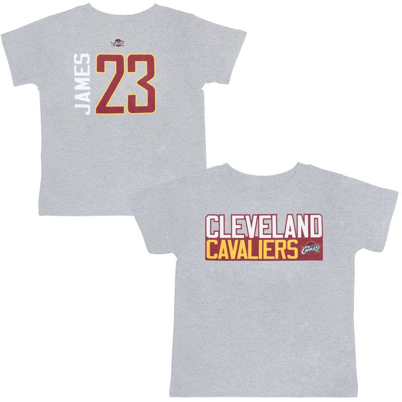 efd930429 LeBron James Cleveland Cavaliers Majestic Preschool Vertical Name   Number T -Shirt – Heather Gray