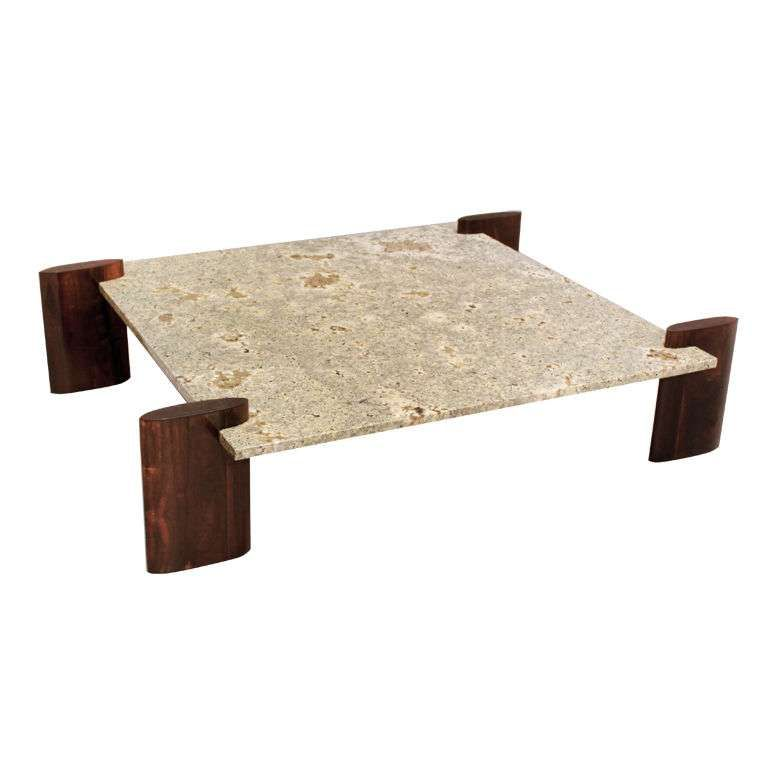 Rosewood and Pale Blue Granite Coffee Table Attributed to Celina