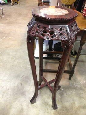 Asian Pedestal with Marble Top - $145