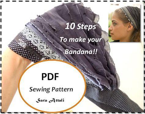 How To Sew Your Ruffle Headband Bandana Tichel Pattern Hair Snood ...
