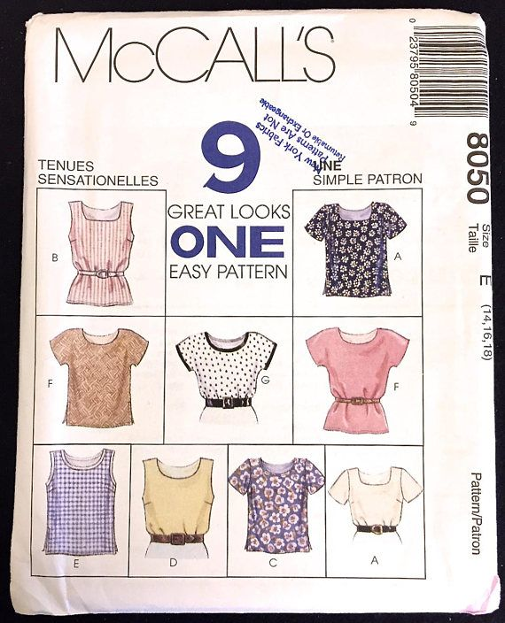 McCalls 9 GREAT LOOKS ~ ONE EASY PATTERN sewing pattern includes ...