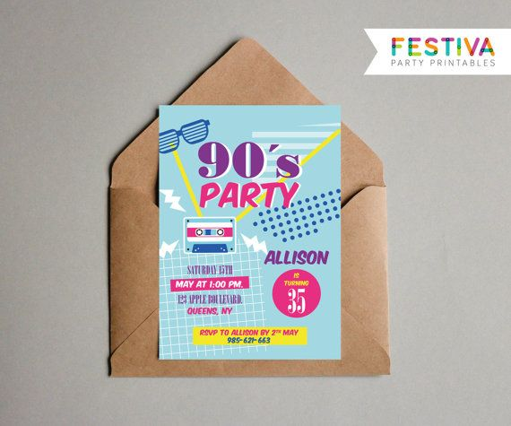 90s Party Invitation / Retro Invitation / Hen por FestivaParty