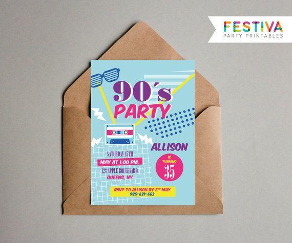 90s Party Invitation / Retro Invitation / Hen por FestivaParty