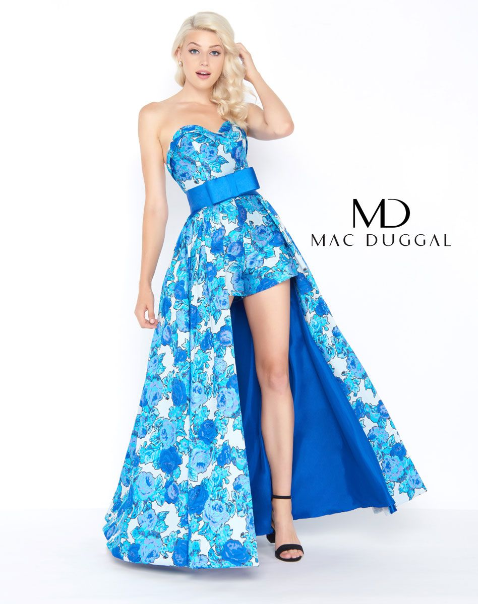 eb605dcf09 Floral printed romper with detachable over skirt featuring a bow at the  waist  79145M