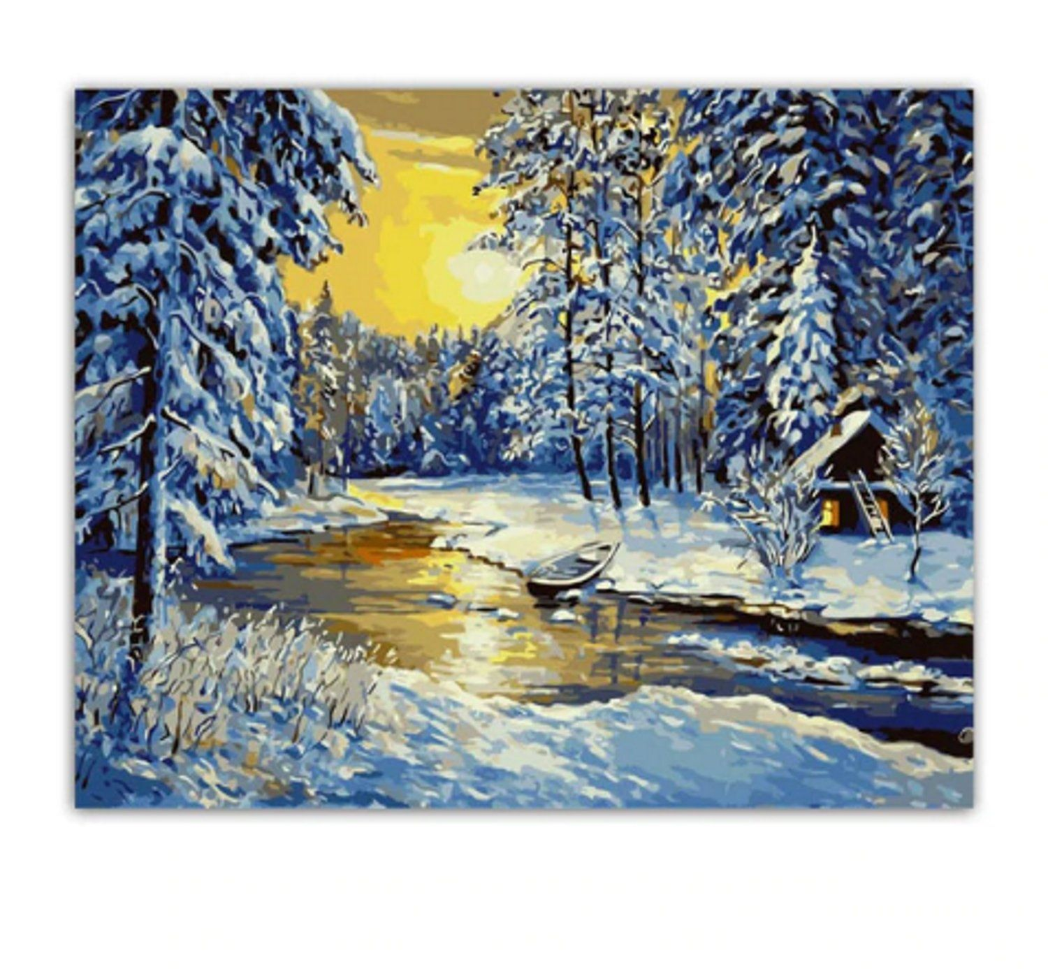 Diy Paint By Number Kit Sunrise River Forest In Winter With