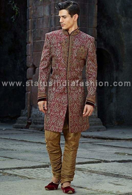 Mens wear, groom wedding dress, groom sherwani, designer indo ...