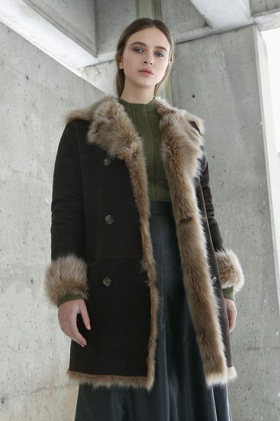 KOJA | Women's Chestnut Toscana Shearling Peacoat | Designed in NYC | Made in Germany | Free Shipping & Returns