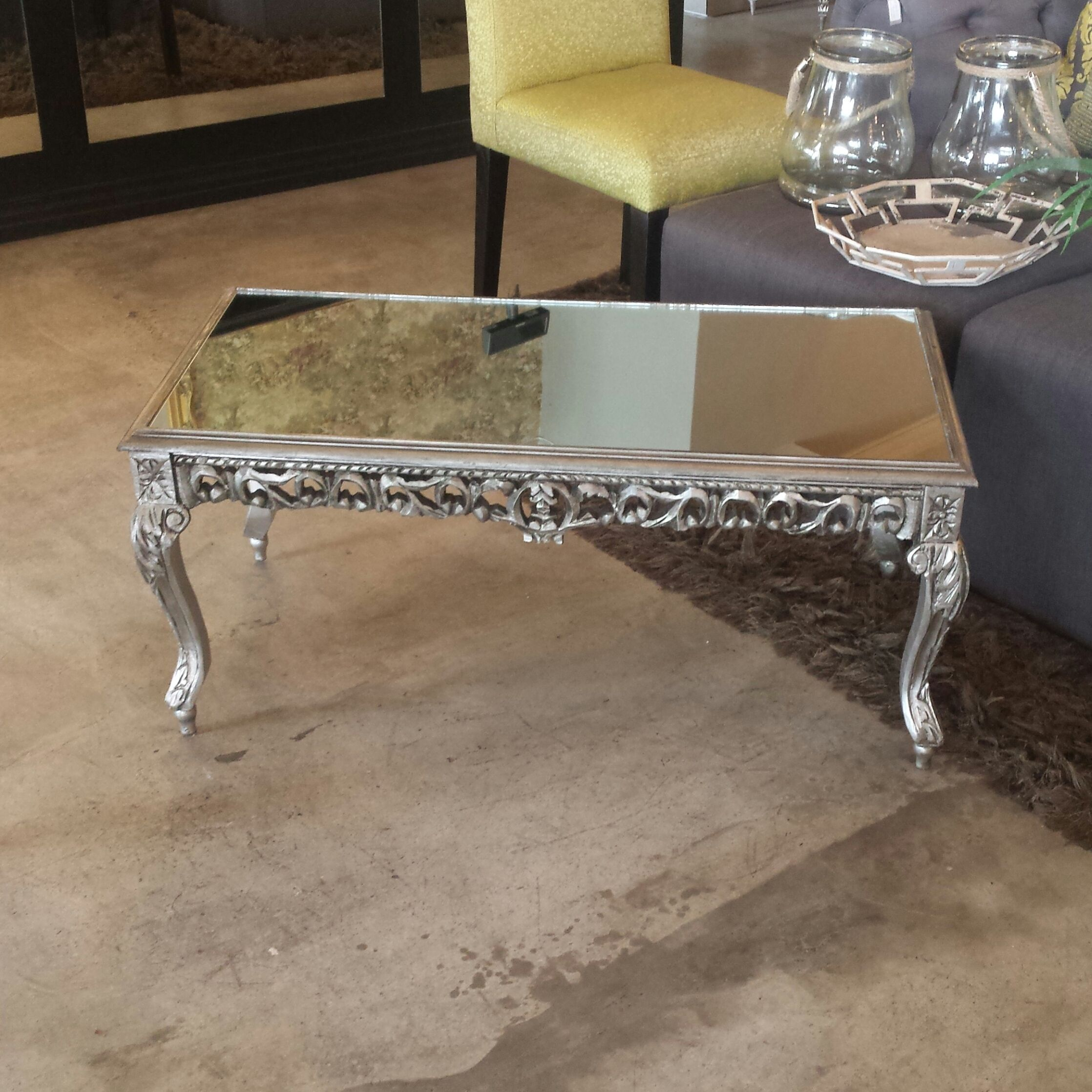 Low Square Mirrored Coffee Table: Silver Mirrored Coffee Table