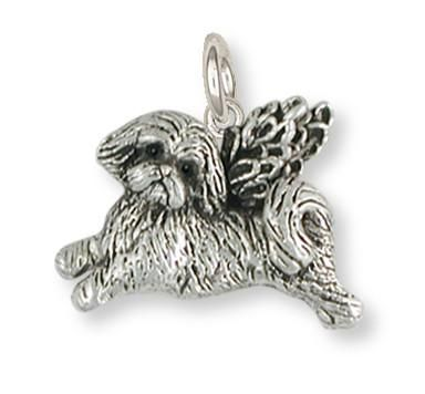 Shih Tzu Angel Charm Handmade Silver Shih Tzu Jewelry Sz22 Ac For