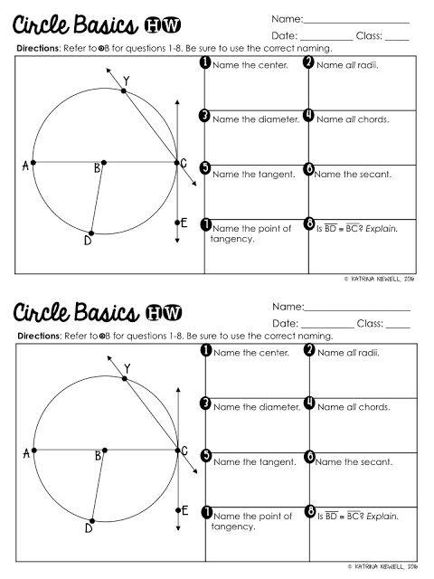 Circle Basics Unit (Part 1) - Mrs  Newell's Math | Jr  High