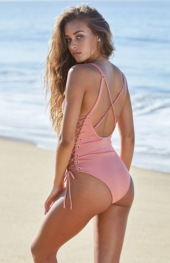 Ribbed Side Lace Up One Piece Swimsuit One Piece Piece Swimsuit Fashion