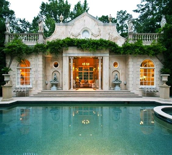 Outdoor Luxury Pool House: French Inspired Pool House