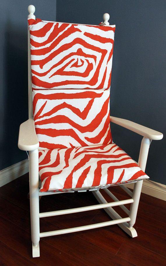 Rocking Chair Cushion Orange Zebra Grey – Etsy Chair Cushions