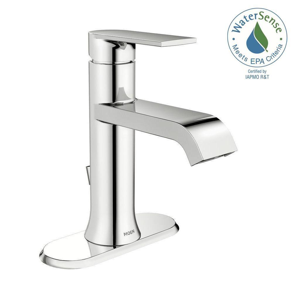 MOEN Genta Single Hole Single-Handle Bathroom Faucet in Chrome ...