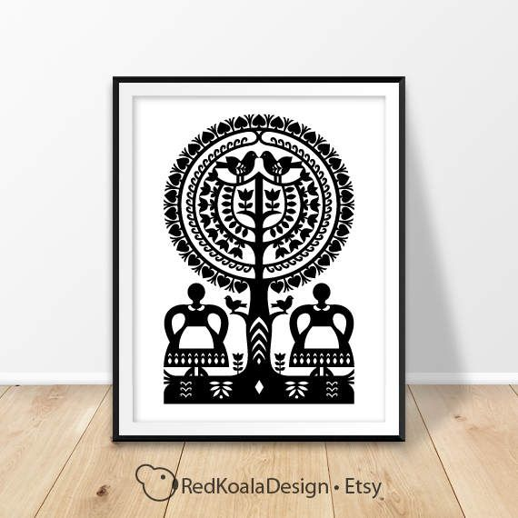 Poster Printable, Polish Folk Print, Poland Pattern, Black