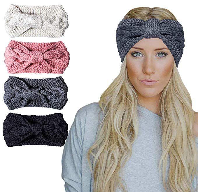 4fbad762e8454 Amandir 2 4 Pcs Womens Chunky Cable Knit Turban Headbands Winter Warm Twist  Head Wrap Ear Warmers