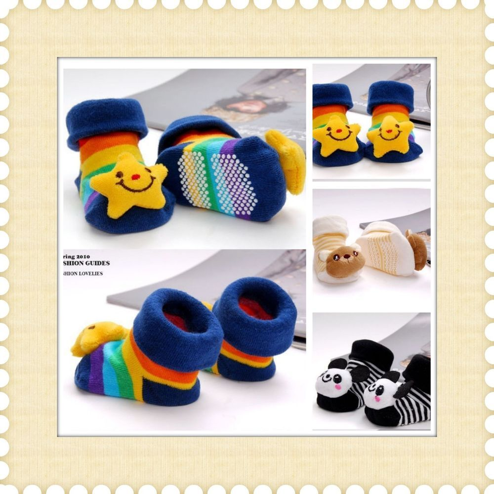 Baby Boy Newborn Toddler Cartoon Anti slip Socks Shoes Boots Slipper #Unbranded