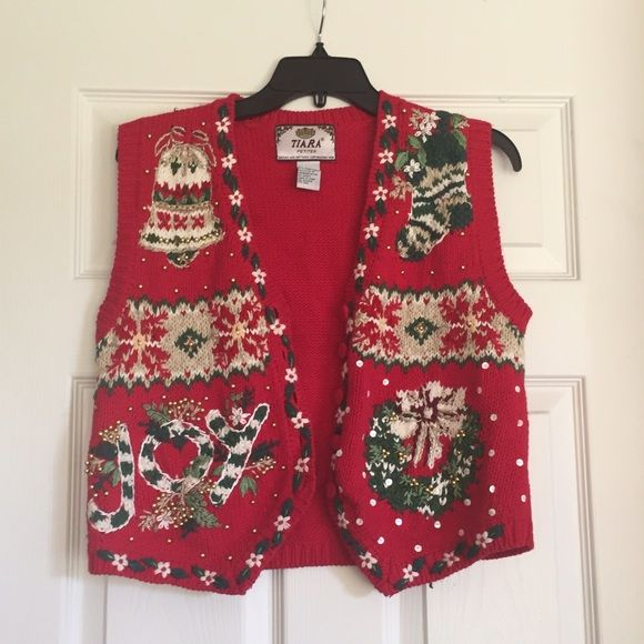 This tacky vest is so fun and detailed!  It fits petite or short torso.  From a smoke free home.  This is the perfect sweater for a tacky sweater or holiday party!