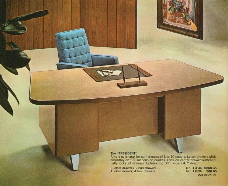 President S Desk Madison Series Desks By Cole Vintage Steel Office Furniture 1970s