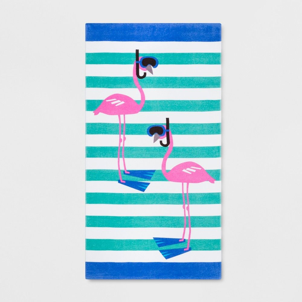 Stripe Scuba Flamingo Beach Towel Sun Squad Adult Unisex
