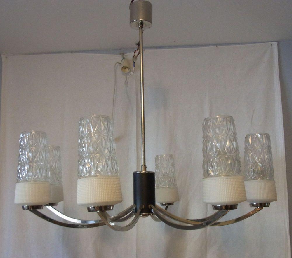 Mid Centurc Rundstrecke 8 Glasschirm Deckenlampe Leuchter Lt Ebay Deckenlampe Kronleuchter Ideen Lampe