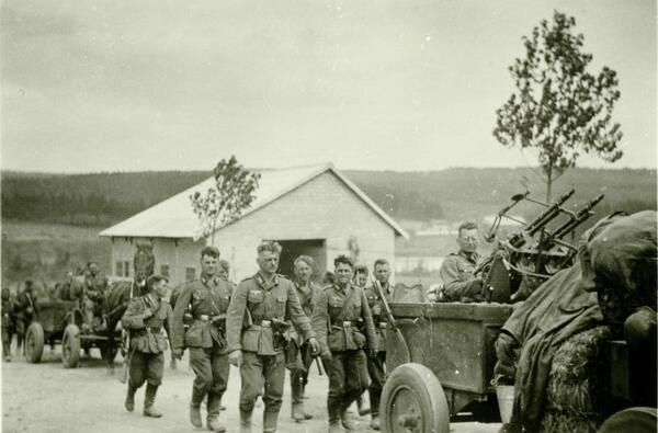 Infantry-Regiment 35 advancing through Belgium - Note mobile AA defence