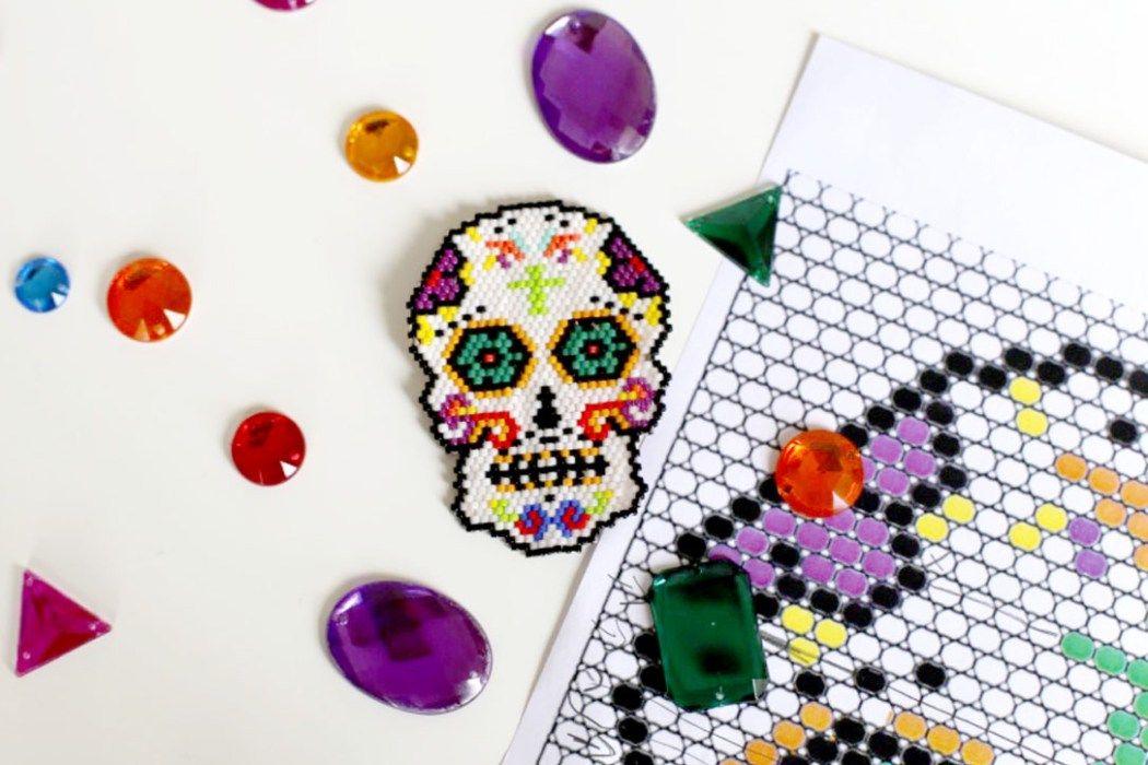 Crâne Mexicain Bijou Halloween Perle Miyuki Et Motifs Perler