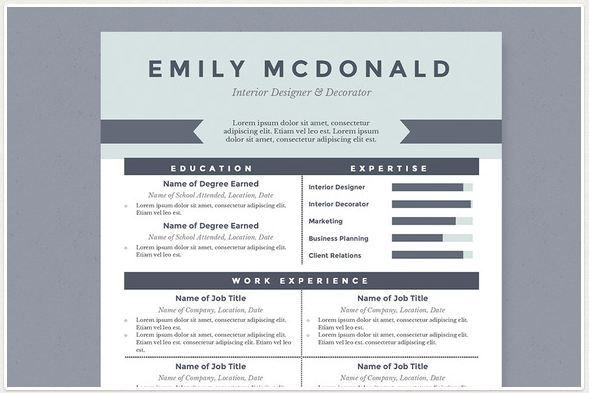 Sea Blue Best Resume Template Package  For Microsoft Word Http