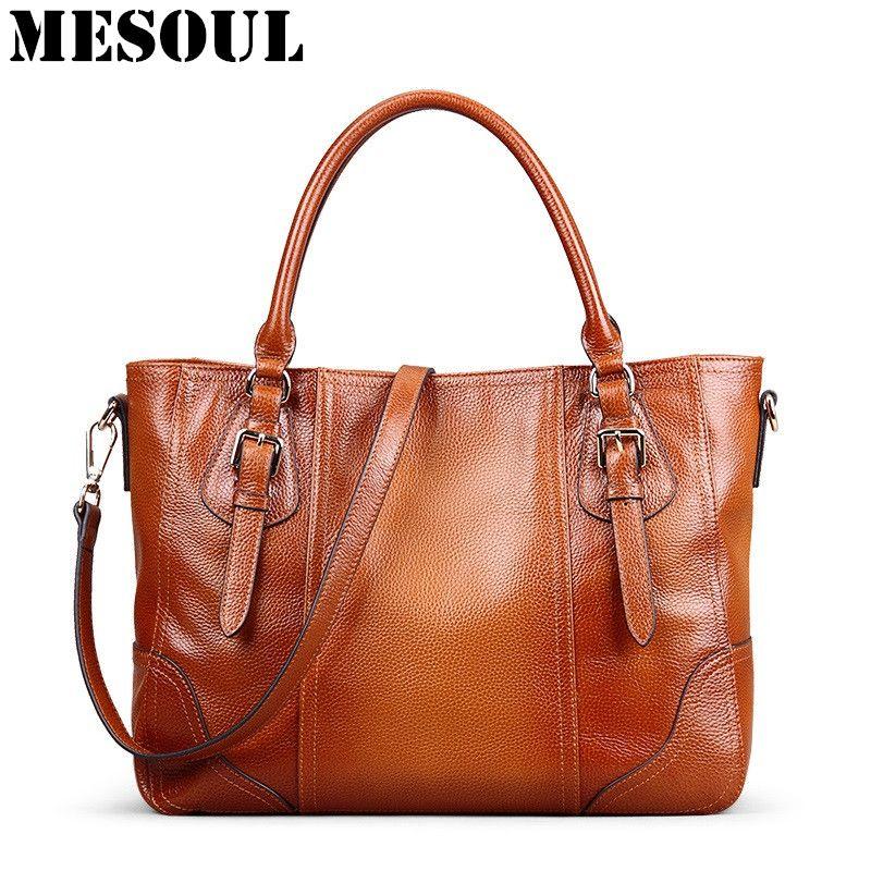 e187fd6af6 Leather · Vintage Genuine Soft Leather Large Tote Shoulder Bag Big Capacity  Handbag Luxury Design Ladies Crossbody Bags
