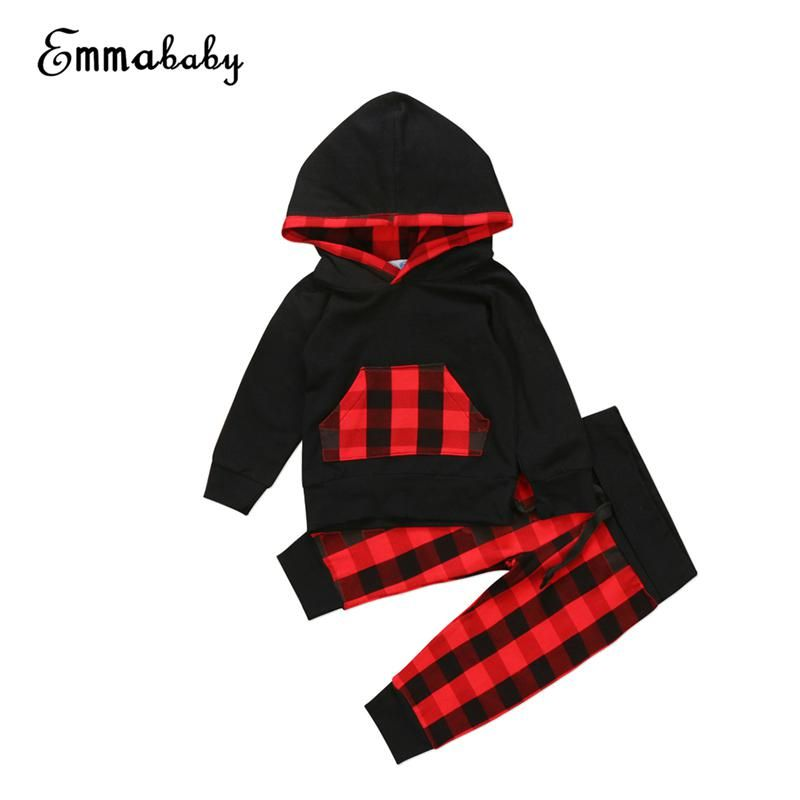 Toddler Baby Boys Girls Top Plaid Pocket Hoodie Long Sleeve Jackets Coat Autumn Clothes