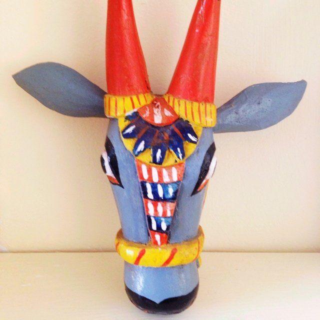 Wooden Cow Head Nandi Wall Sculpture Bull Mask Good Luck Statue Handmade Figure