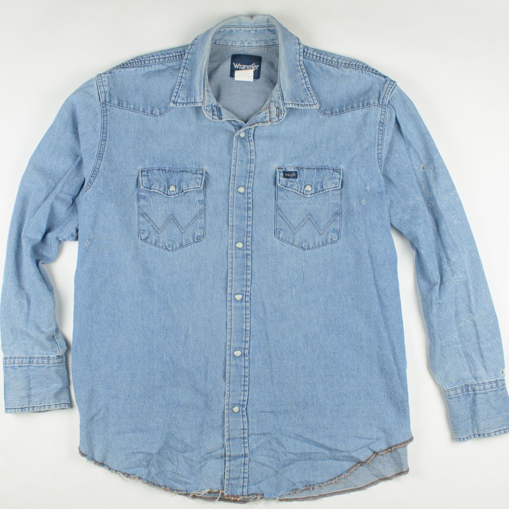 98a332f7dbd Vintage Wrangler Distressed Denim Western Ripped Faded Workwear Jeans Shirt  XL  Wrangler  Western