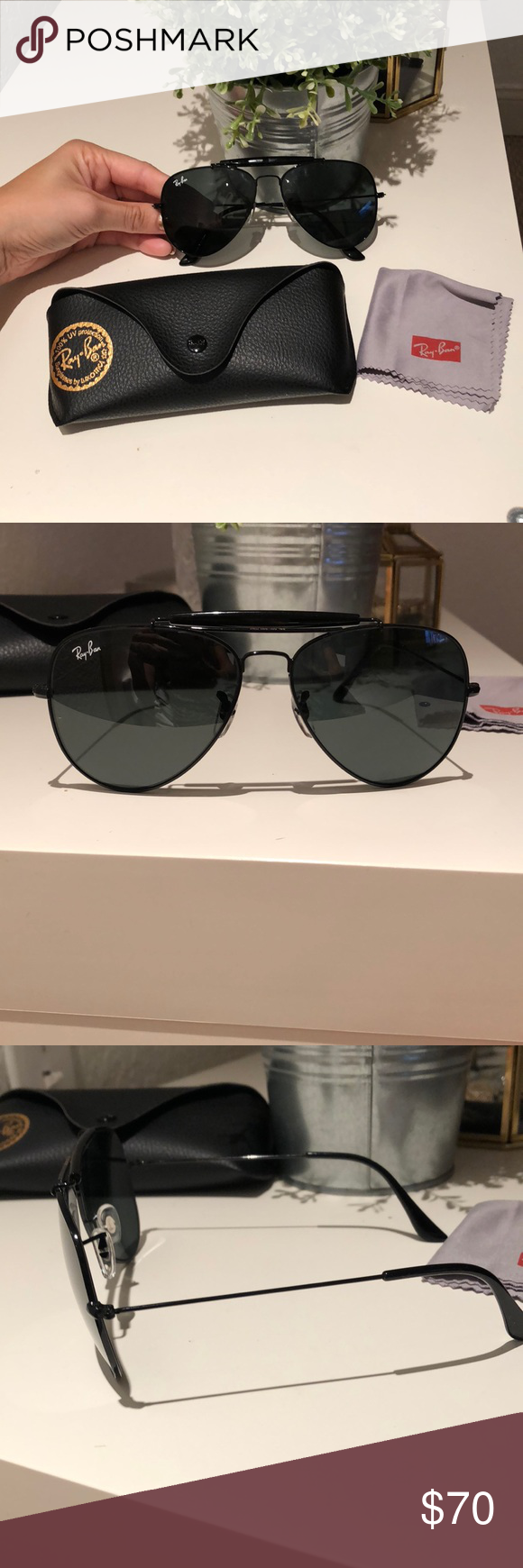 ac47e119b Rayban Aviator sunglasses New without tags Vintage Rayban from the 80s era  with slim black metal frame with Double Bridge Metal and black lenses Comes  with: ...