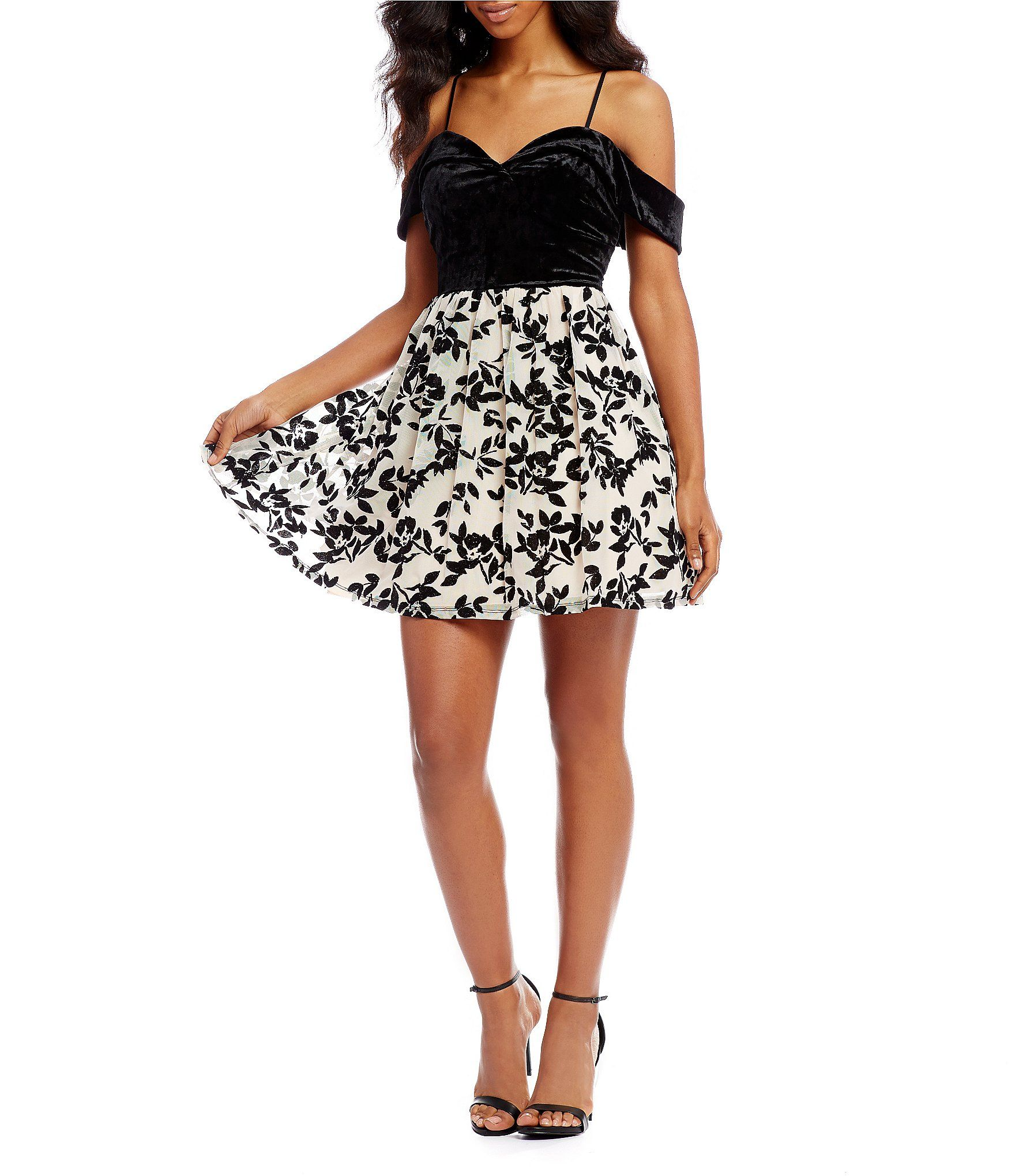 e1247855685 Shop for Jodi Kristopher Off-The-Shoulder Flocked Fit and Flare Dress at  Dillards.com. Visit Dillards.com to find clothing