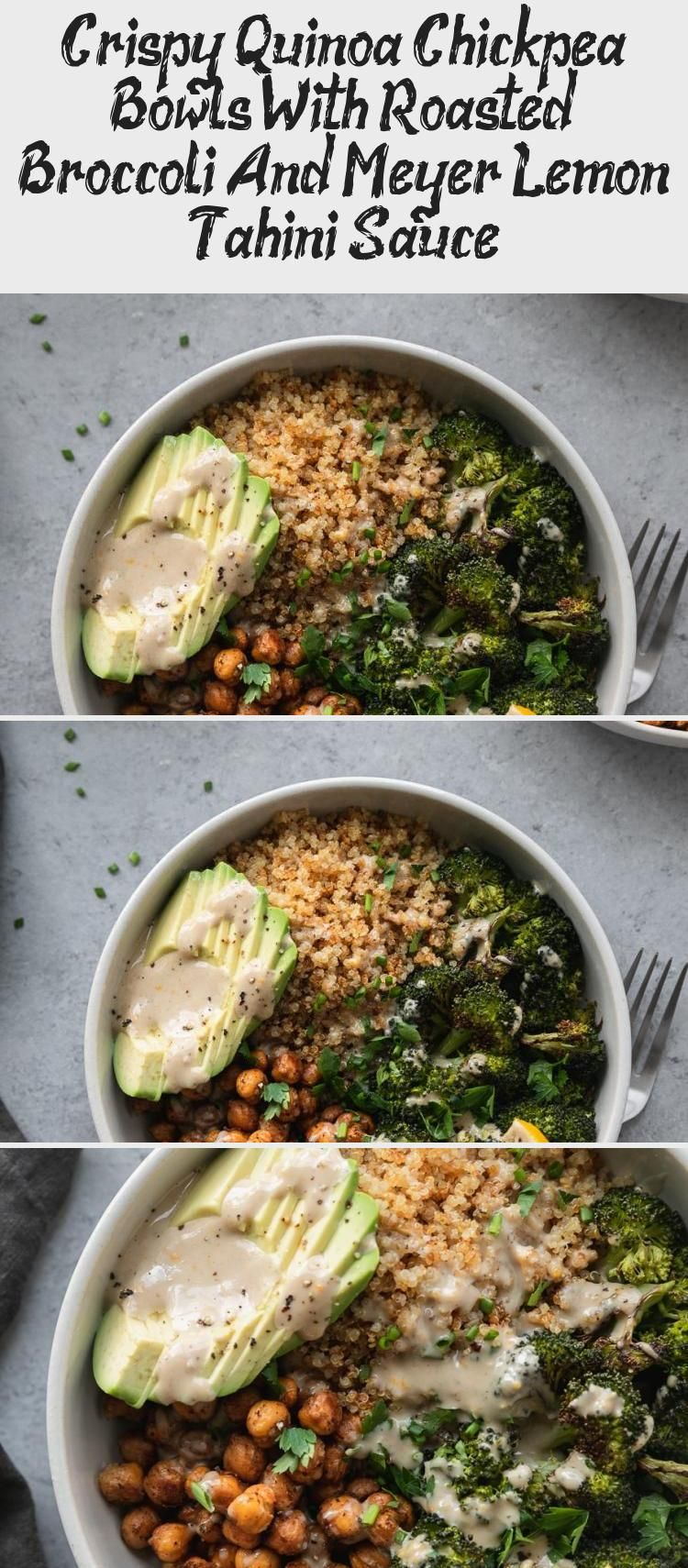 These Crispy Quinoa Chickpea Bowls with Roasted Broccoli and Meyer Lemon Tahini Sauce are a hearty wholesome meal that are perfect to make for meal prep The quinoa gets c...