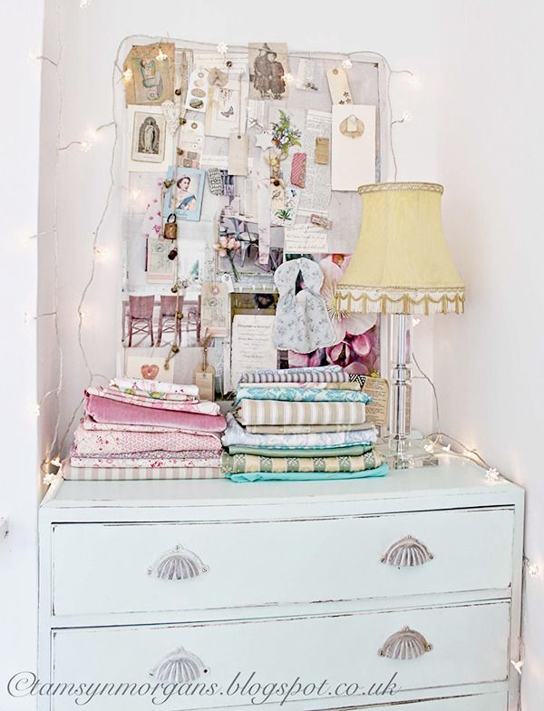 vintage shabby chic inspired office. I\u0027m Dying For This Shabby Chic Painted Cabinet And Stacks Of Pretty Vintage Fabric Inspired Office P