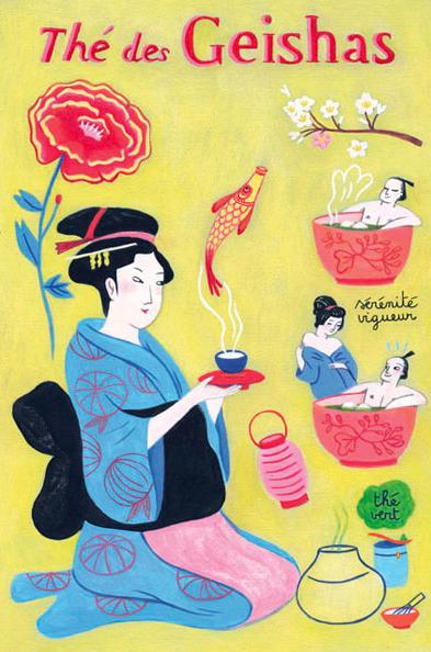 By Anne Laval, 2010, Postcard: Tea geishas.